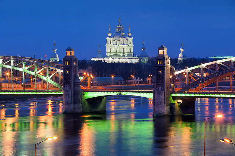 Smolny Cathedral. Bolsheokhtinsky bridge